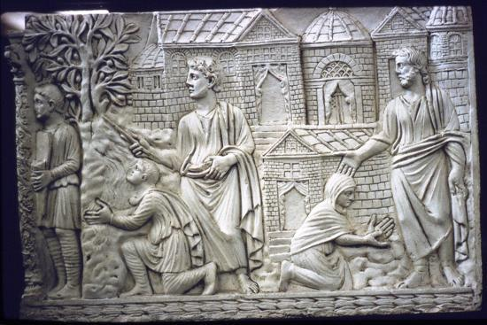 Moses Strikes the Rock, and Christ in the Garden, early Christian Sarcophagus, 4th century-Unknown-Giclee Print