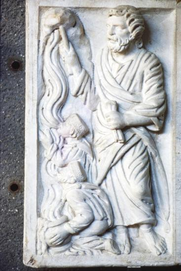 Moses strikes the Rock, for water in the desert, Early Christian Sarcophagus, c4th century-Unknown-Giclee Print
