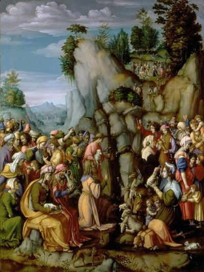 Moses Striking the Rock, after 1525 (Panel)-Francesco Ubertini Bacchiacca Il-Giclee Print