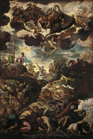 Moses with Bronze Serpent During the Plague of Snakes-Jacopo Robusti Tintoretto-Art Print
