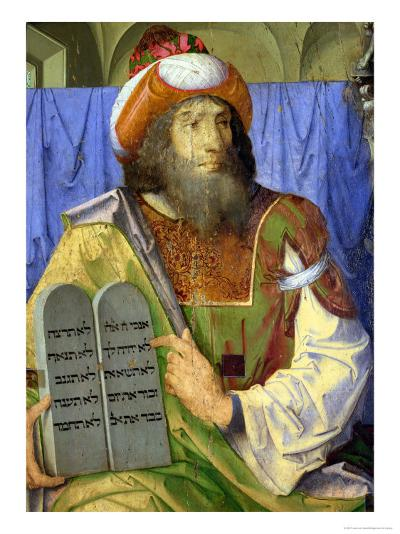 Moses with the Ten Commandments, from a Series of Portraits of Illustrious Men (Detail)-Joos van Gent-Giclee Print