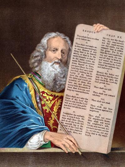 Moses with the Ten Commandments, Mid 19th Century--Giclee Print