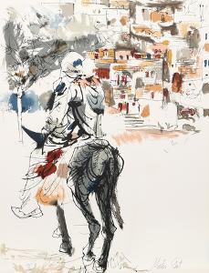 Donkey and Rider from People in Israel by Moshe Gat