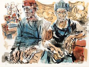 Fishermen at Docks from People in Israel by Moshe Gat