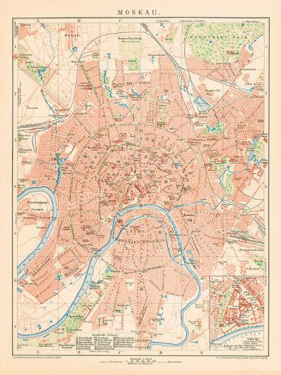 'Moskau' - A Map Of Moscow, 1892-Friedrich Arnold Brockhaus-Giclee Print