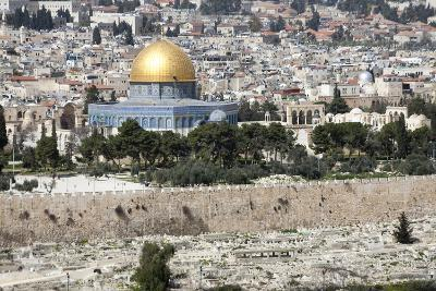 Moslem Golden Dome of the Rock, Outside Walls, and Historic Jewish Cemetery, City of JerUSAlem-Dave Bartruff-Photographic Print