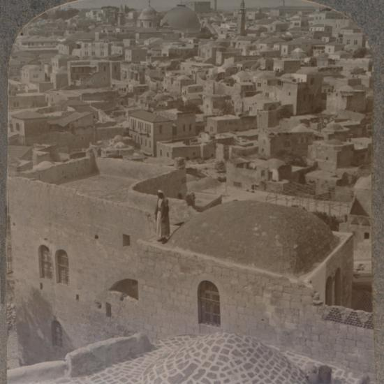 'Moslem quarter of Jerusalem, from the English School', c1900-Unknown-Photographic Print