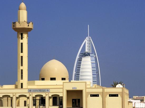 Mosque Beside Burj Al Arab Hotel, Dubai, United Arab Emirates-Holger Leue-Photographic Print