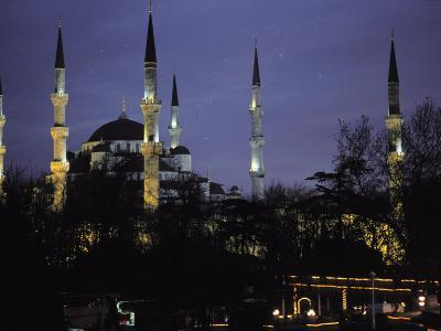 Mosque Lit Up at Dusk in Istanbul, Turkey-Gianluca Colla-Photographic Print