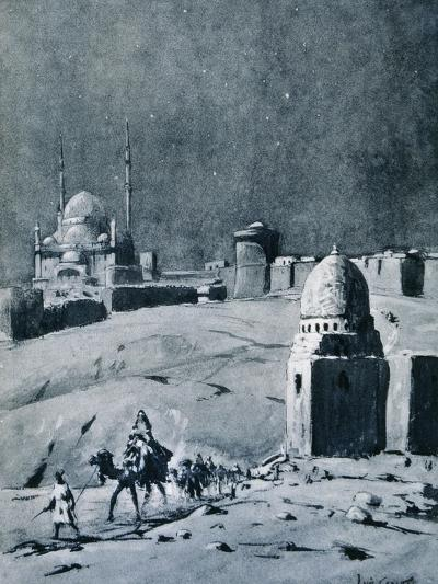 Mosque of Muhammad Ali under Moonlight, Cairo, Egypt, 1928-Louis Cabanes-Giclee Print