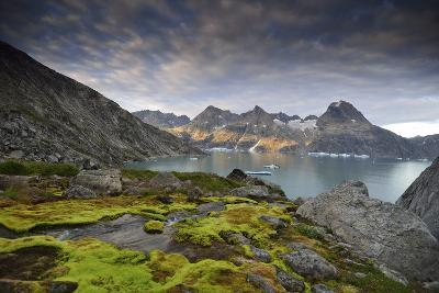 Moss-Covered Stones on a Mountainous Fjord Coast at Sunset-Keith Ladzinski-Photographic Print