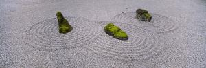 Moss on Three Stones in a Zen Garden, Washington Park, Portland, Oregon, USA