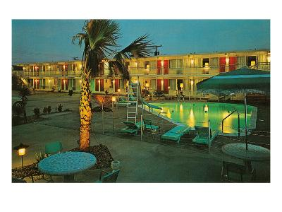 Motel Courtyard at Night--Art Print