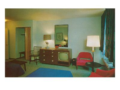Motel Room with Blue Bedspread--Art Print