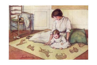 Mother and Baby with Crawling Rug--Giclee Print