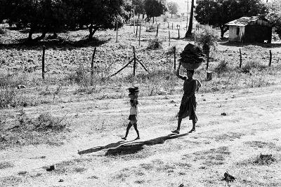Mother and Child Carrying Cow Dung Cake, Borivali National Park, Mumbai, India, 1973--Photographic Print