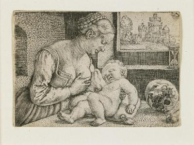 Mother and Child with Skull and Hourglass, C. 1528-1530-Barthel Beham-Giclee Print