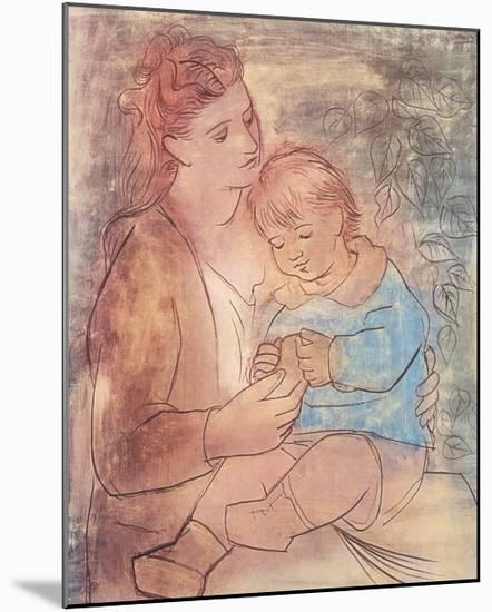 Mother and Child-Pablo Picasso-Mounted Art Print