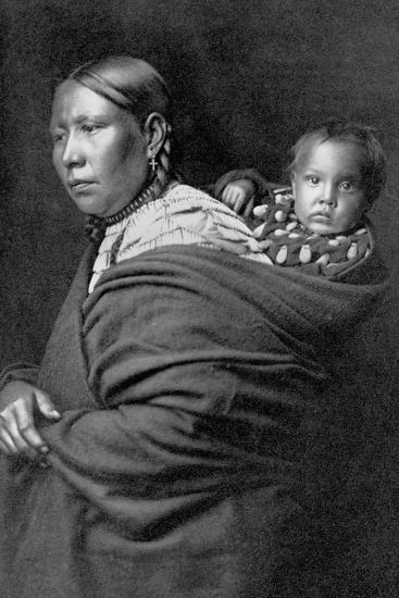 Mother and Child-Edward S^ Curtis-Photographic Print