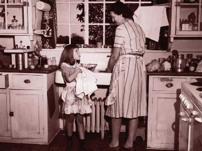 Mother and Daughter (8-10) Washing and Wiping Dishes--Photographic Print