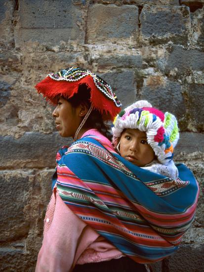 Mother Carries Her Child in Sling, Cusco, Peru-Jim Zuckerman-Photographic Print
