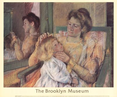 Mother Combing Her Child's Hair-Mary Cassatt-Lithograph