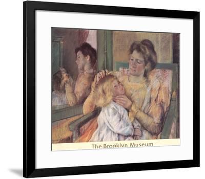 Mother Combing Her Child's Hair-Mary Cassatt-Framed Lithograph