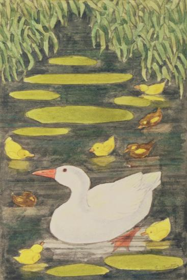 Mother Duck in the Pond with Her Ducklings-Linda Benton-Giclee Print