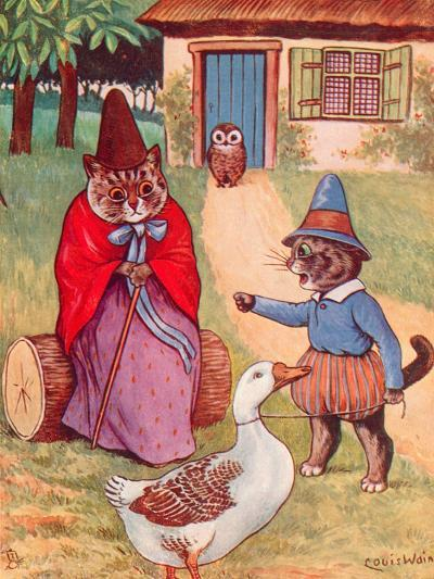 Mother Goose at Home-Louis Wain-Giclee Print