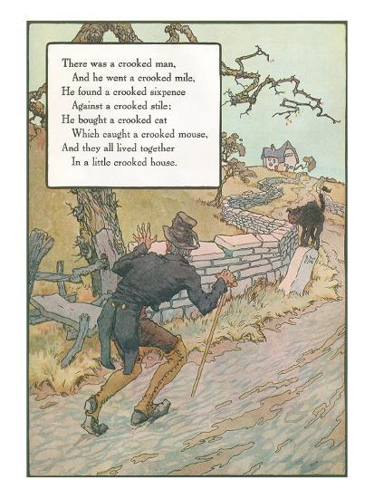 Mother Goose Rhyme, Crooked Man--Art Print
