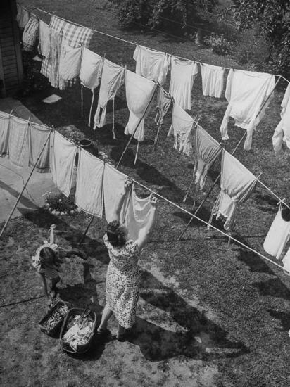 Mother Hanging Laundry Outdoors During Washday-Alfred Eisenstaedt-Photographic Print