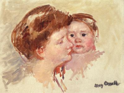Mother in Profile with Baby Cheek to Cheek-Mary Cassatt-Giclee Print