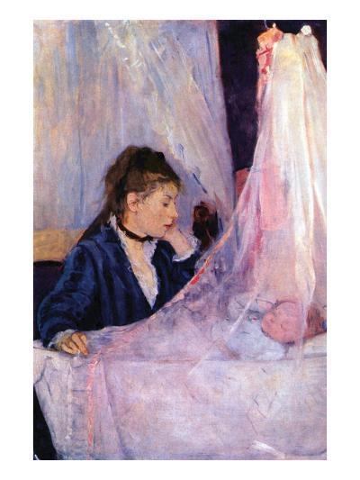 Mother Looks at Baby in the Cradle-Berthe Morisot-Art Print