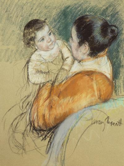 Mother Louise Holding Up Her Blue-Eyed Child-Mary Cassatt-Giclee Print