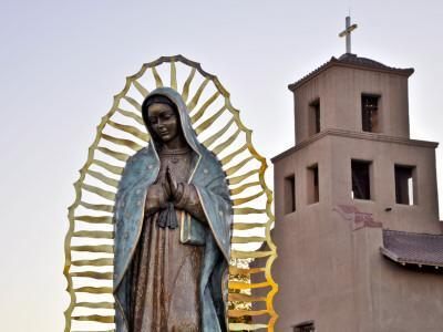 Mother Mary Sculpture with Church Belltower in Background-Ray Laskowitz-Photographic Print