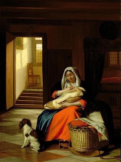 Mother Nursing Her Child, 1674-76-Pieter de Hooch-Giclee Print