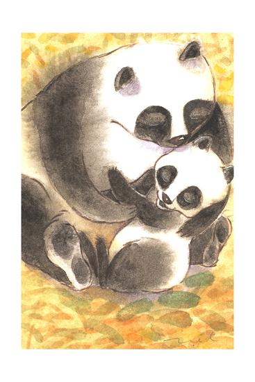 Mother Panda Bear Holding Her Cub on Orange Background--Art Print