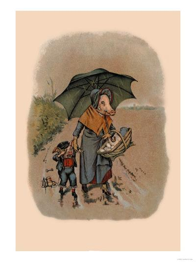 Mother Pig and Sad Little Pig Walking in the Rain-A. Gual-Art Print