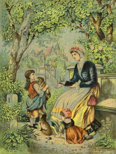 Mother Playing with Children and Dogs--Giclee Print