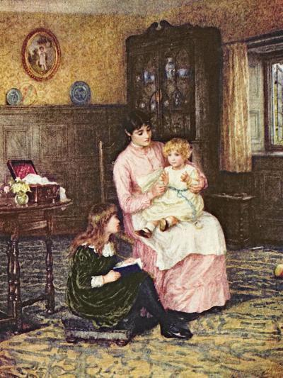 Mother Playing with Children in an Interior-Helen Allingham-Giclee Print