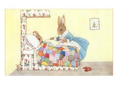 Mother Rabbit Feeding Baby Bunny--Art Print