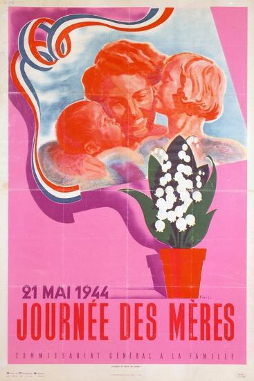 Mother's Day, 21st May 1944, Vichy French Poster, 1944- Phili-Giclee Print