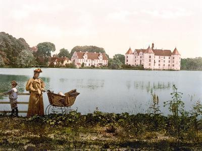 Mother Taking Her Children for a Walk with Schloss Glucksburg in the Background--Photographic Print