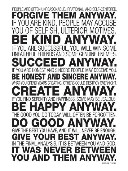 Mother Teresa Anyway Quote Poster--Premium Giclee Print