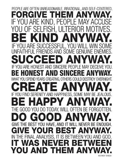 Mother Teresa Quote | Mother Teresa Anyway Quote Poster Art Print By Art Com
