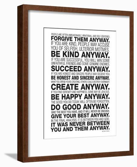Mother Teresa Anyway Quote Poster-null-Framed Art Print