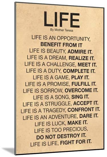 Mother Teresa Life Quote Poster--Mounted Print