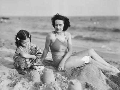Mother with Girl (2-3) Playing in Sand on Beach, (B&W)-George Marks-Photographic Print