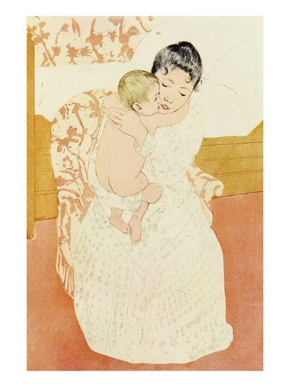 Motherly Tenderness-Mary Cassatt-Art Print
