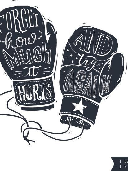 motivational quote hand written within silhouette of boxing gloves